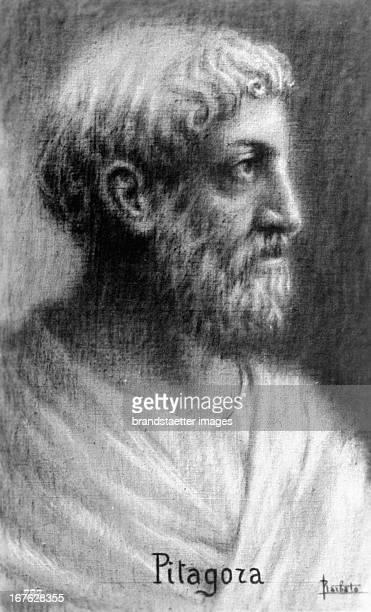 Portrait Pythagoras Greek philosopher Drawing Undated Portrait Pythagoras griechischer Philosoph Zeichnung Undatiert