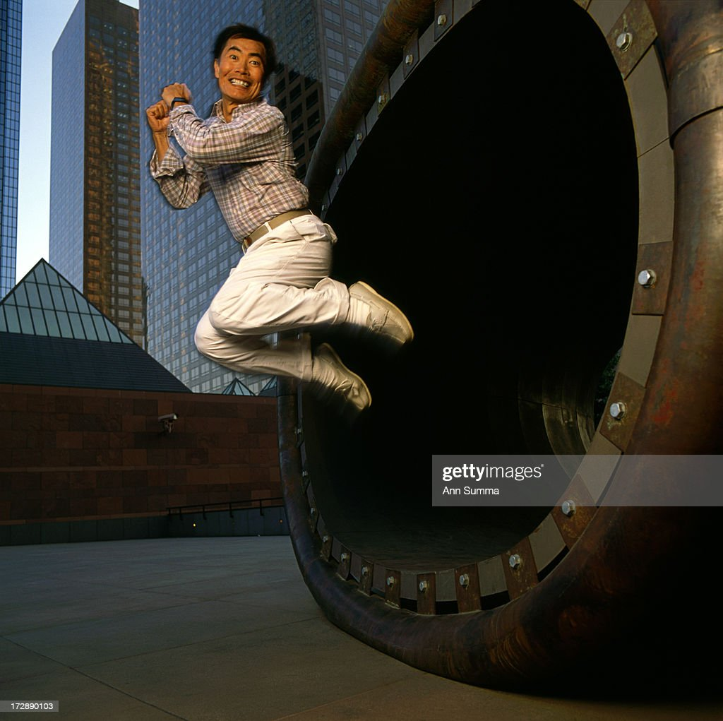 Portrait session with actor <a gi-track='captionPersonalityLinkClicked' href=/galleries/search?phrase=George+Takei&family=editorial&specificpeople=1534988 ng-click='$event.stopPropagation()'>George Takei</a> at MOCA in downtown LA with sculpture by Richard Deacon.
