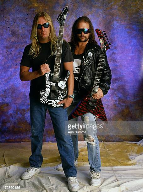 Portrait session with guitarist Kerry King right and Jeff Hanneman the founding member and lead guitarist for thrash metal band Slayer