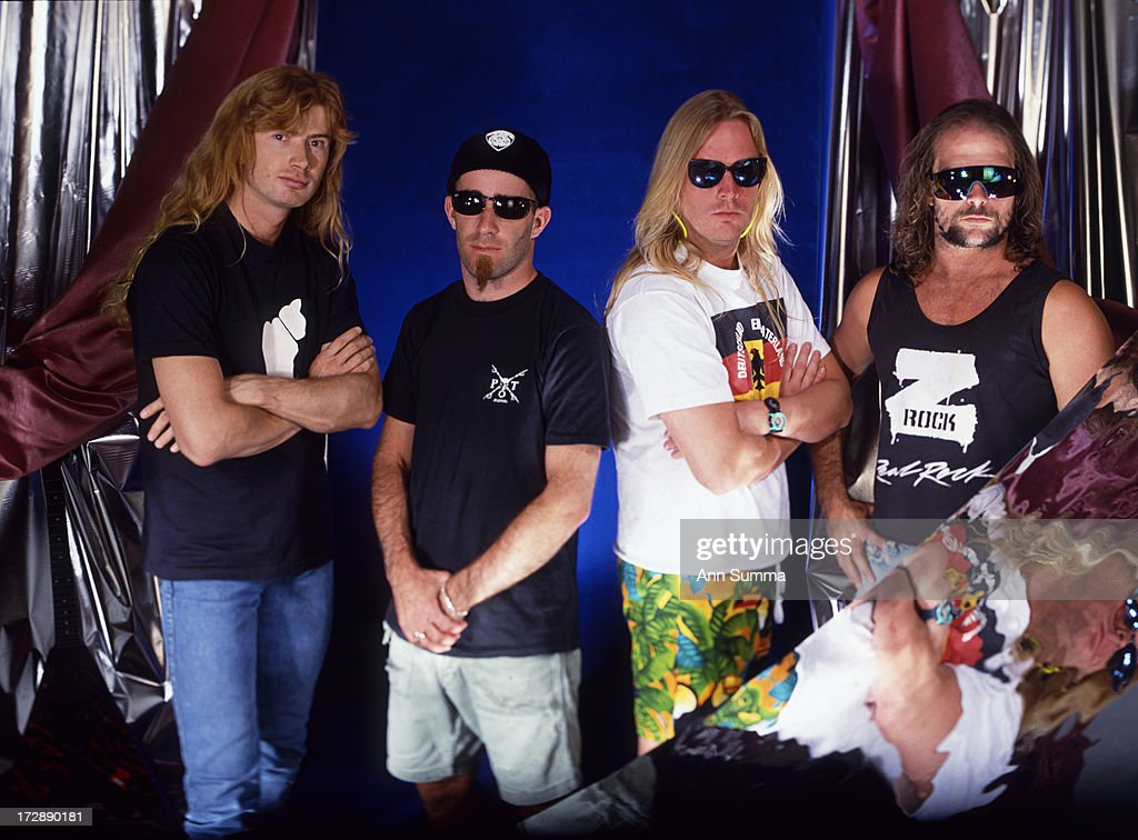 Portrait session with guitarists Dave Mustaine of Megadeath, left, <a gi-track='captionPersonalityLinkClicked' href=/galleries/search?phrase=Scott+Ian&family=editorial&specificpeople=208132 ng-click='$event.stopPropagation()'>Scott Ian</a> (Anthrax), <a gi-track='captionPersonalityLinkClicked' href=/galleries/search?phrase=Jeff+Hanneman&family=editorial&specificpeople=858409 ng-click='$event.stopPropagation()'>Jeff Hanneman</a> (Slayer) and <a gi-track='captionPersonalityLinkClicked' href=/galleries/search?phrase=Kerry+King&family=editorial&specificpeople=236089 ng-click='$event.stopPropagation()'>Kerry King</a> (Slayer).