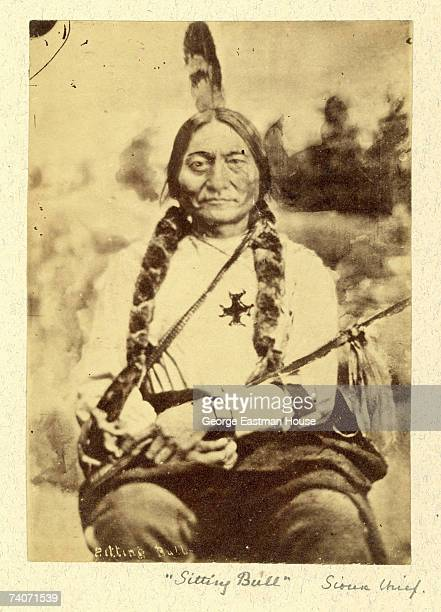 Portrait shows the chief of the Lakota Sioux tribe Sitting Bull known as Tatanka Iyotake to his people as he sits in Bismarck North Dakota 1889...