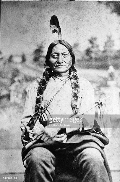 Portrait shows the chief of the Sioux tribe Sitting Bull known as Tatanka Iyotake to his people as he sits in Bismarck North Dakota 1881 Sitting Bull...