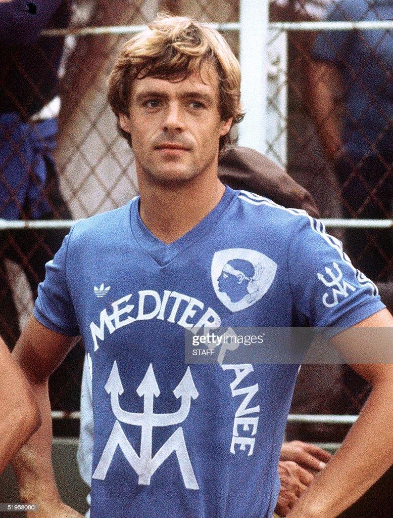 Portrait taken in 1978 in Bastia of Dutch forward
