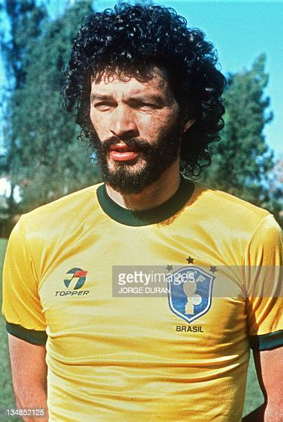 Portrait taken in June 1985 of midfielder Socrates selected to participate with Brazil's national soccer team to the 1986 World Cup taking place in...