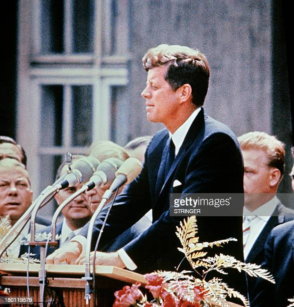 A portrait taken on July 15 1957 shows US Senator John Fitzgerald Kennedy giving a speech AFP PHOTO