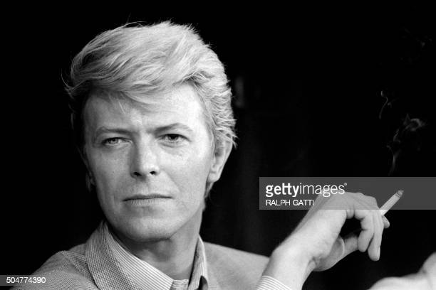A portrait taken on May 11 1983 shows British singer David Bowie during a press conference at the 36th Cannes Film Festival He is the main actor in...
