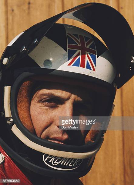 Portrait with helmet of Phil Read of Great Britain rider of the MV Augusta during the Silverstone International Meeting on 12 August1973 at the...