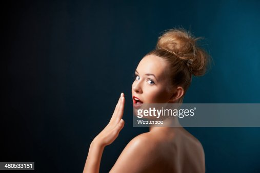 Portrait with surprised expression : Stock Photo