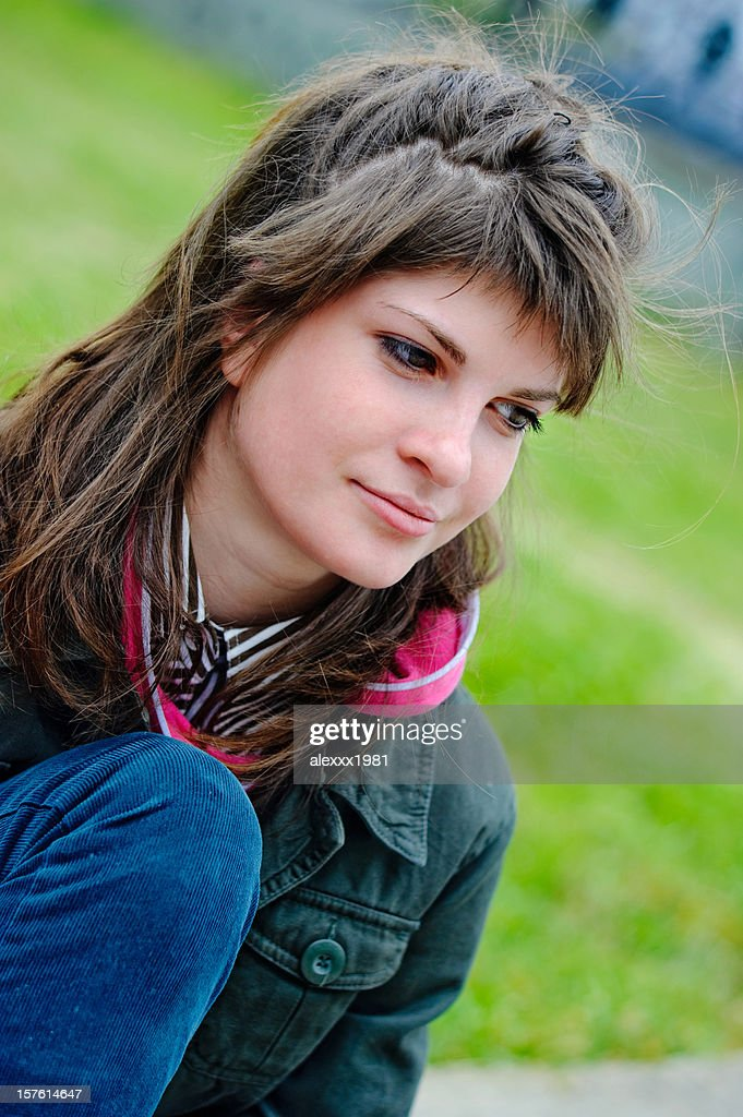 Portrait young casual woman outdoors : Stock Photo