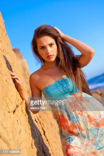 Portrait Young fashion woman at beach