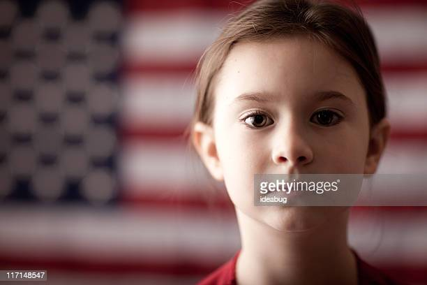 Portrait - Young Girl in Front of American Flag