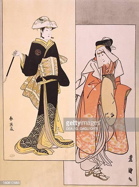 Portraits of actors on stage ca 17941796 ukiyoe of ShunYei and Utagawa Toyokuni reproduction of woodcut Japanese civilization Edo period