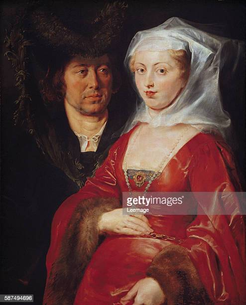 Portraits of Ansegisus and St Begga Ansegisus and St Begga ancestor of the carolingian line They are richly dressed he wears a fur hat and she is...