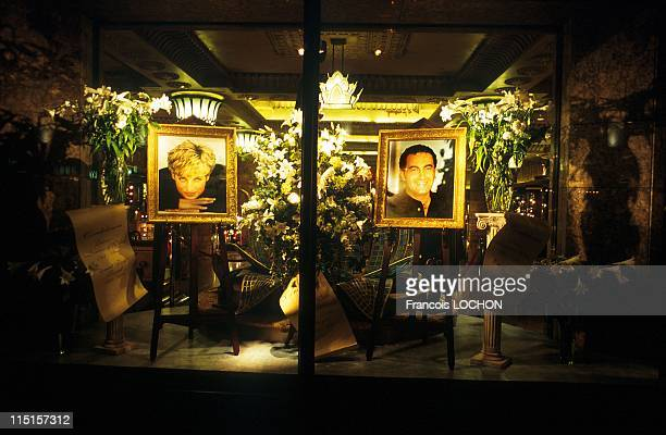 Portraits of Diana and Dodi in Harrods' store windows in London United Kingdom on September 30 1997