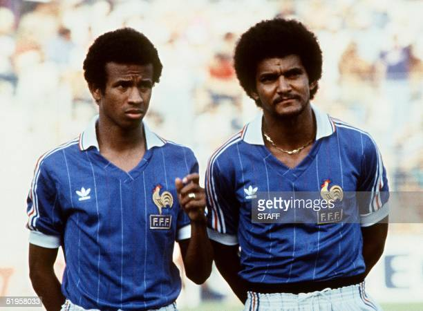 Portraits of French midfielder Jean Tigana and defender Gerard Janvion taken 10 July 1982 in Alicante before the start of the World Cup soccer match...