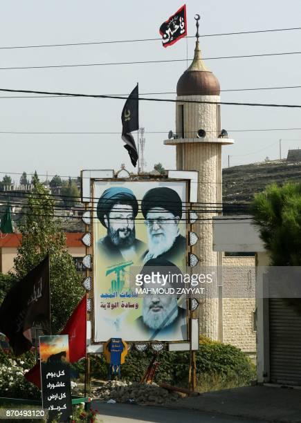 Portraits of Iranianborn Lebanese cleric Musa alSadr Iran's Supreme Leader Ayatollah Ali Khamenei and the head of the Lebanese Shiite movement...