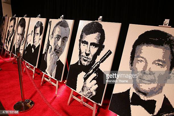 Portraits of James Bond actors built from lego are displayed at the Brick Man Experience The Complete Collection by Ryan McNaught made entirely of...