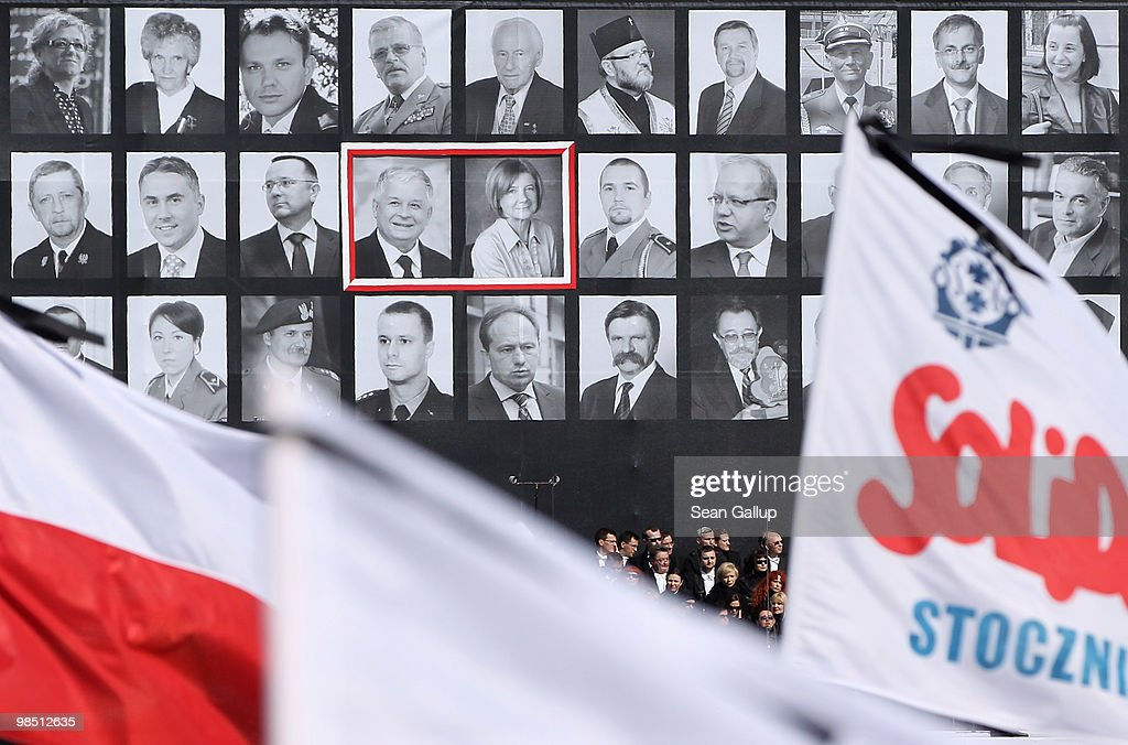 Portraits of late Polish President Lech Kazcynski and his wife Maria are framed among photographs of the 94 other people killed in the recent Polish...