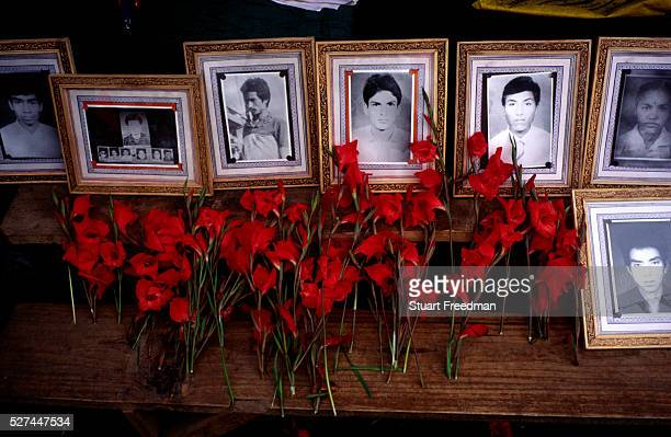 Portraits of Maoists martyrs at a rally in Dolakha Nepal