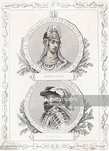 Portraits of Montezuma II the ninth Aztec Emperor of Mexico and Hernando Cortez Spanish conquistador