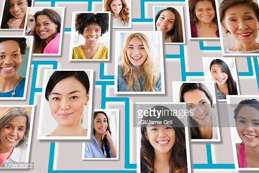 Portraits of people overlaid on grid
