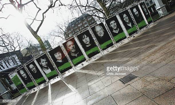 Portraits of People who have suffered from Hepatitis C part of a photographic exhibition are seen on March 16 2005 in Leicester Square London England...