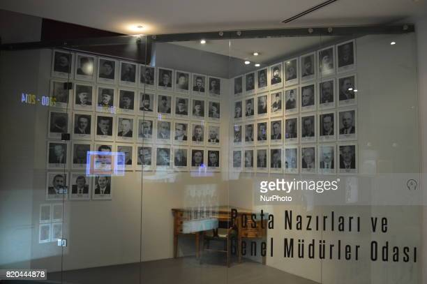 Portraits of postal ministers and their office are seen at the PTT Stamp Museum in Ankara Turkey on July 21 2017