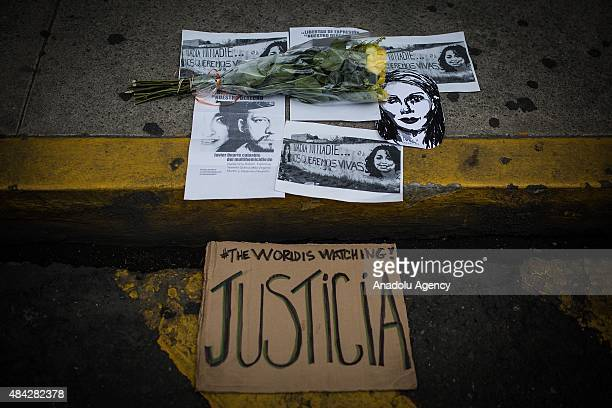 Portraits of Ruben Espinoza and 4 women during a protest to demand the clarification of the murder of photojournalist Ruben Espinosa who was killed...