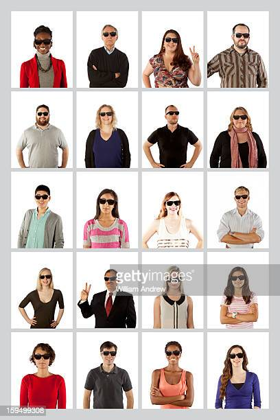 Portraits of twenty people wearing sunglasses