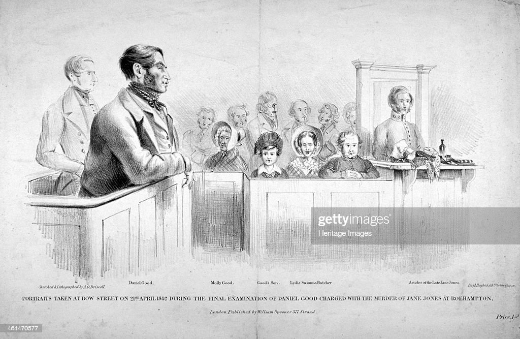 Portraits taken at Bow Street Police Court Westminster London 1842 Scene during the final examination of Daniel Good charged with the murder of Jane...