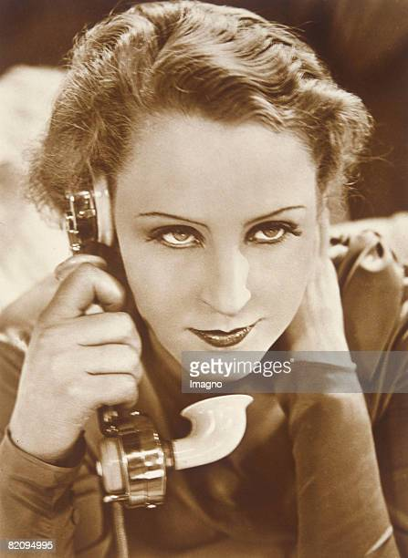 Portray of the german actress Brigitte Helm at the phone most famous for her role as Maria in the film Metropolis by Fritz Lang Photography around...