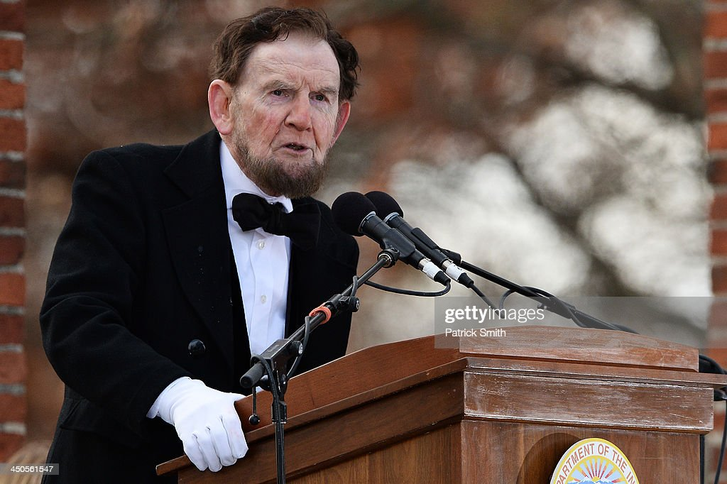 Portraying U.S. President Abraham Lincoln, James Getty, recites the Gettysburg Address during a commemoration of the 150th Anniversary of the Gettysburg Address at the Soldiers' National Cemetery at Gettysburg National Military Park on November 19, 2013 in Gettysburg, Pennsylvania. The iconic Gettysburg Address speech was first given by U.S. President Abraham Lincoln in 1863 during the Civil War.