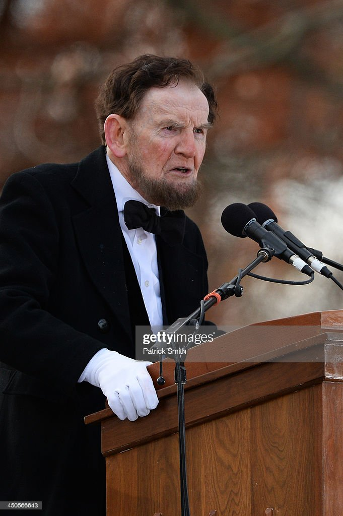 Portraying U.S. President Abraham Lincoln, James Getty, recites the Gettysburg Address during a commemoration of the 150th Anniversary of the Gettysburg Address at the Soldiers' National Cemetery at Gettysburg National Military Park on November 19, 2013 in Gettysburg, Pennsylvania. The iconic Gettysburg Address was given by U.S. President Abraham Lincoln in 1863 during the Civil War and highlighted the principles of democracy, human equality, and freedom and professed that 'government of the people, by the people, for the people, shall not perish from the earth.'.