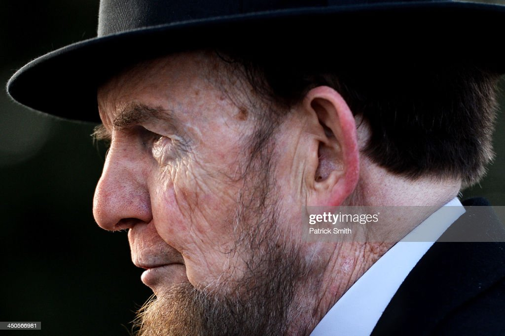 Portraying U.S. President Abraham Lincoln, James Getty, stands behind stage before reciting the Gettysburg Address during a commemoration of the 150th Anniversary of the Gettysburg Address at the Soldiers' National Cemetery at Gettysburg National Military Park on November 19, 2013 in Gettysburg, Pennsylvania. The iconic Gettysburg Address was given by U.S. President Abraham Lincoln in 1863 during the Civil War and highlighted the principles of democracy, human equality, and freedom and professed that 'government of the people, by the people, for the people, shall not perish from the earth.'.