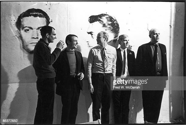 Portriat of five American pop artists from left Tom Wesselman Roy Lichtenstein James Rosenquist Andy Warhol and Swedishborn Claes Oldenburg as they...