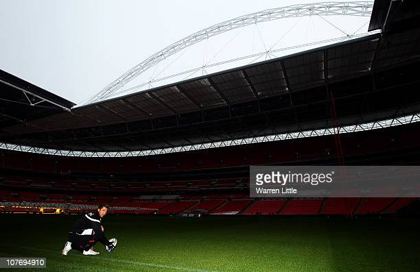 A portriat of Gavin Henson of Saracens as practices his kicking at Wembley Stadium on December 20 2010 in London England Saracens will take on London...