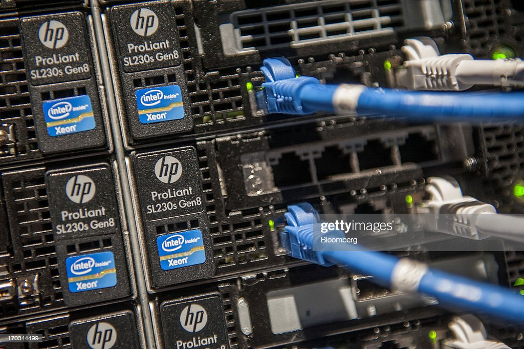 Ports on a storage and server tower are displayed during the HP Discover 2013 conference in Las Vegas, Nevada, U.S., on Tuesday, June 11, 2013. Hewlett-Packard Co. unveiled software that knits together technology from its data-analysis acquisitions, seeking to boost sales to corporate customers to counter slumping demand for personal computers. Photographer: Jacob Kepler/Bloomberg via Getty Images