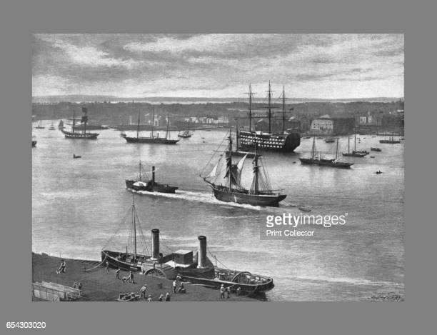 Portsmouth Harbour c1900 Portsmouth Harbour is a large natural harbour in Hampshire England Photographic llusrtation from Sights and Scenes in...