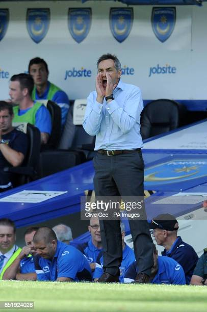 Portsmouth manager Guy Whittingham during the Sky Bet League Two match at Fratton Park Portsmouth