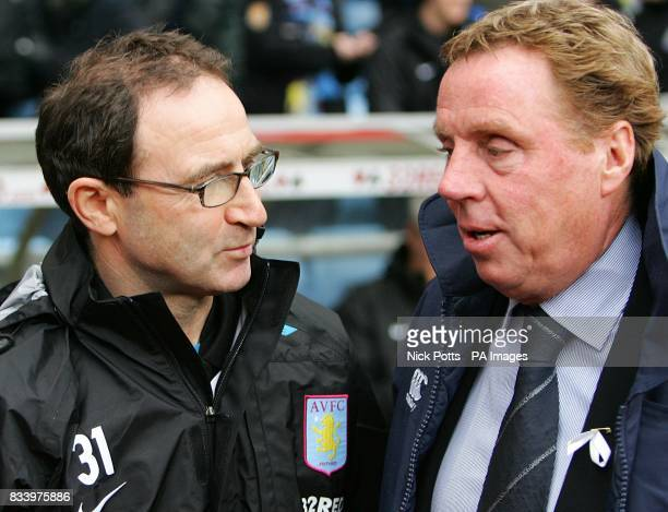 Portsmouth manager Harry Redknapp and Aston Villa manager Martin O'Neill before the match