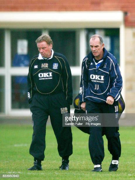 Portsmouth manager Harry Redknapp and his number two Joe Jordan head out for training at the club's training ground in Eastleigh Hampshire