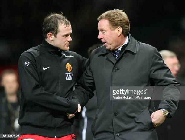 Portsmouth manager Harry Redknapp talks to Manchester United's Wayne Rooney at the end of the game