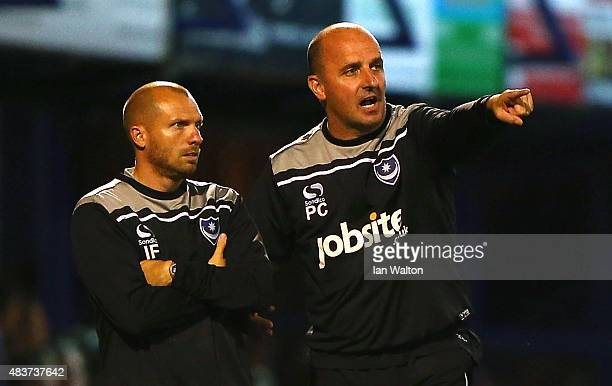 Portsmouth manager Paul Cook during the Capital One Cup First Round match between Portsmouth v Derby County at Fratton Park on August 12 2015 in...