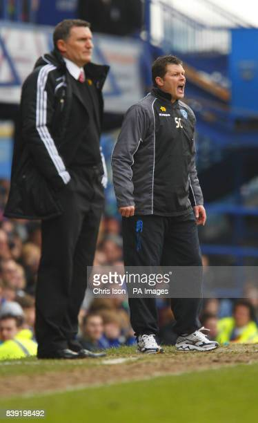 Portsmouth manager Steve Cotterill and Middlesbrough manager Tony Mowbray during the npower Football League Championship match at Fratton Park...