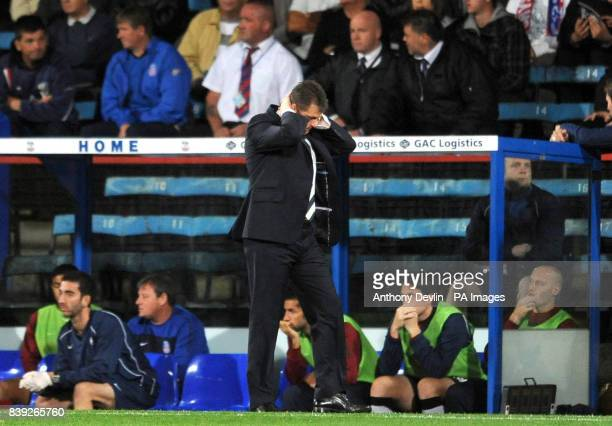 Portsmouth manager Steve Cotterill reacts during the npower Championship match at Selhurst Park London