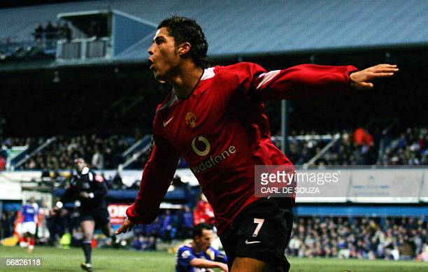 Manchester United's Cristiano Ronaldo celebrates after his second goal to make it 30 during their premiership match against Portsmouth at home to...