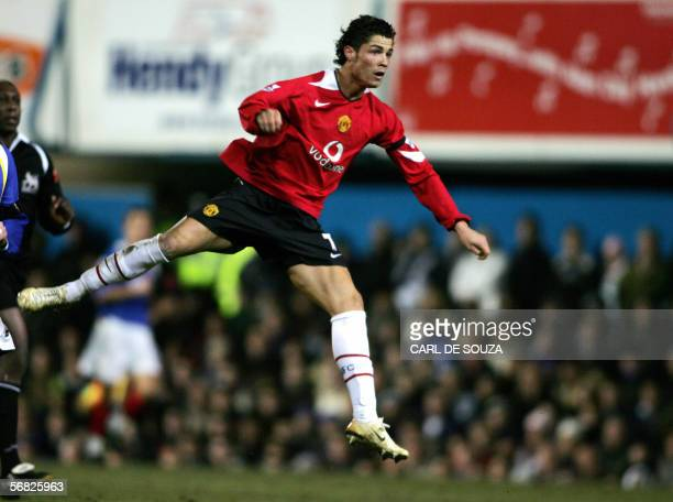 Manchester United's Cristiano Ronaldo scores their second goal during their premiership match against Portsmouth in Portsmouth 11 February 2006 AFP...