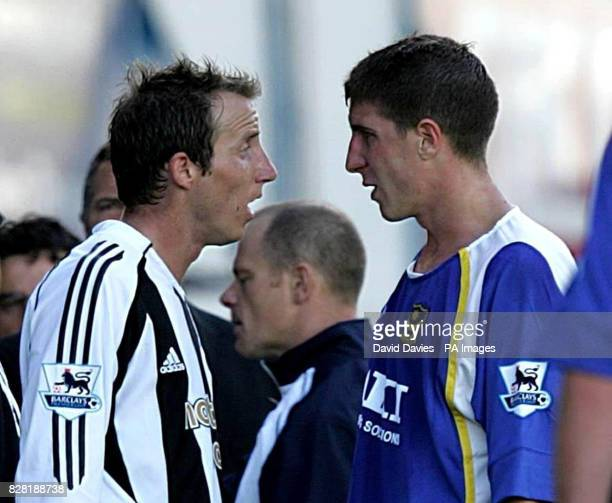 Portsmouth's Gregory Vignal faces up to Newcastle United's Lee Bowyer during the Barclays Premiership match at Fratton Park Portsmouth Saturday...