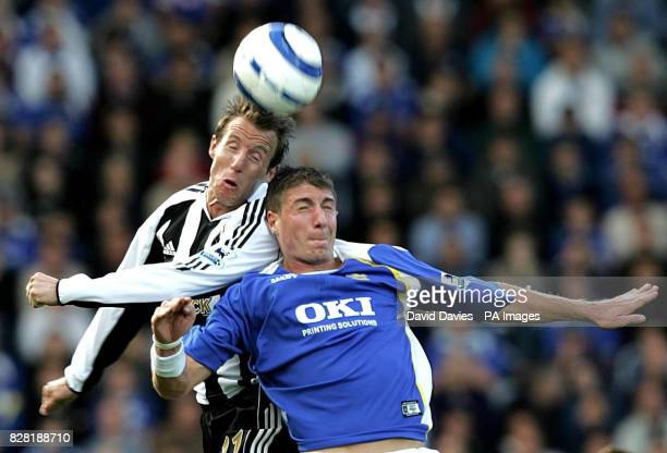 Portsmouth's Gregory Vignal jumps for the ball with Newcastle United's Lee Bowyer during the Barclays Premiership match at Fratton Park Portsmouth...