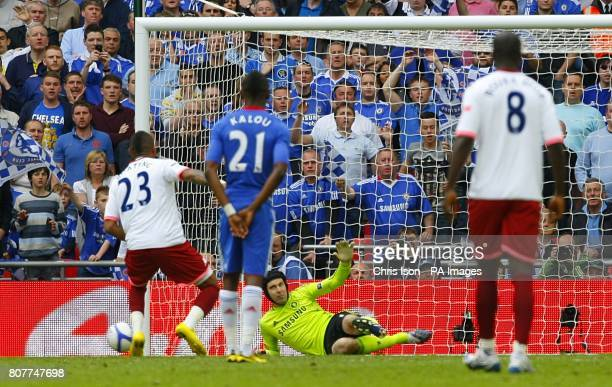Portsmouth's KevinPrince Boateng has his penalty saved by Cheslea goalkeeper Petr Cech